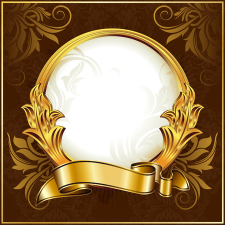 gold swirls: Gold vintage circle frame with ribbon Illustration