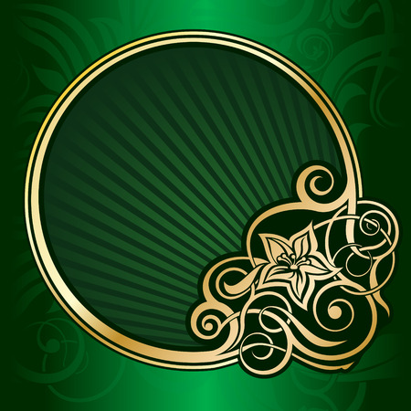 Gold vintage circle frame Vector
