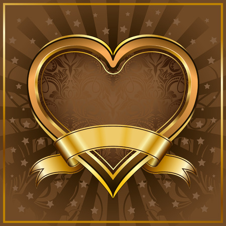 Gold heart frame with ribbon Vector