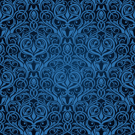 Blue seamless wallpaper pattern Stock Vector - 6772130