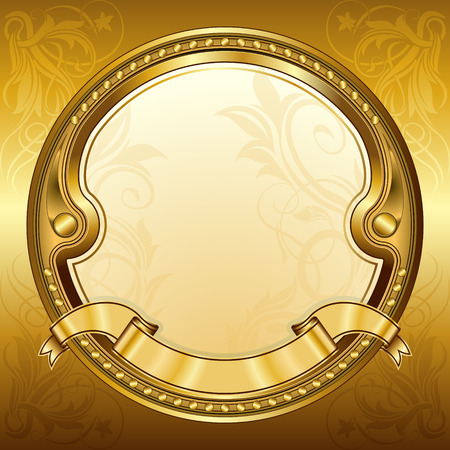 gold frame: Gold vintage circle frame with ribbon Illustration