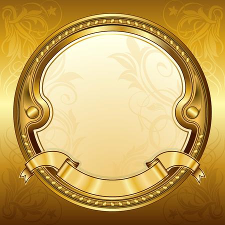 gold banner: Gold vintage circle frame with ribbon Illustration