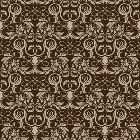 Brown seamless wallpaper pattern Stock Vector - 7176321
