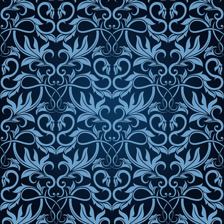 venetian victorian: Blue seamless wallpaper pattern  Illustration