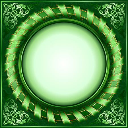 Green vintage circle frame with ribbon  Stock Vector - 7310149