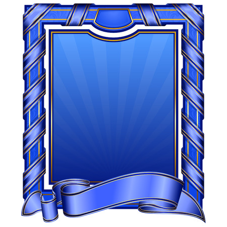 old fashioned: blue vintage rectangle frame with ribbon  Illustration