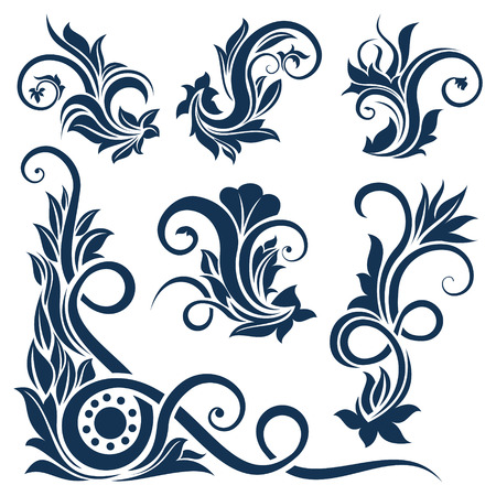 victorian scroll: Floral design element collection