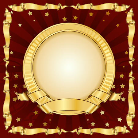 Gold vintage circle frame with ribbon  Vector