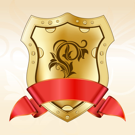 nobility symbol: Gold shield with red ribbon Illustration