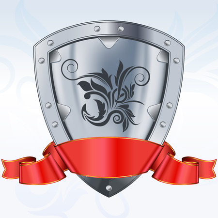 Steel shield with red ribbon  Vector