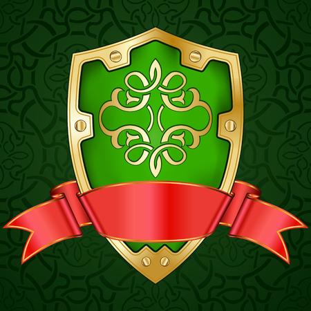 Gold shield with ribbon Vector