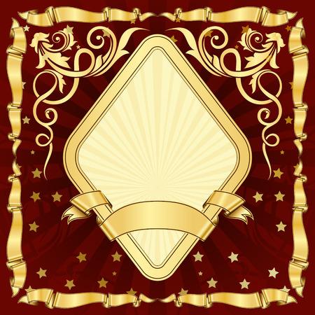 diamond plate background: Gold vintage diamond frame with ribbon
