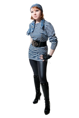 the beautiful girl dressed as the pirate isolated on white background photo