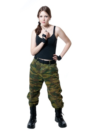 military uniform: girl in a military uniform isolated on white