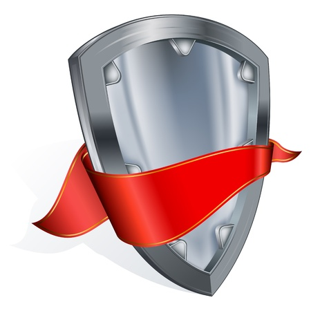 steel shield with red ribbon Stock Vector - 9673309
