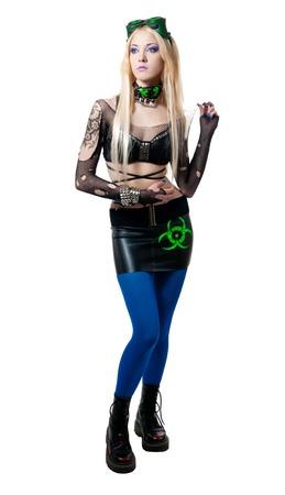 beautiful cybergoth blonde girl isolated on white background photo