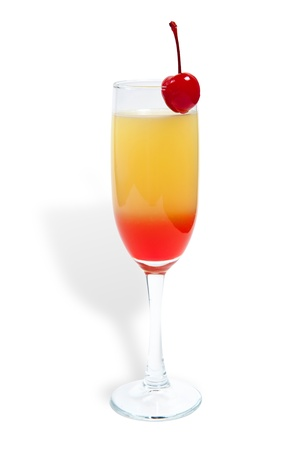 tequila sunrise cocktail isolated on a white photo