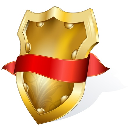 gold shield with red ribbon  Vector