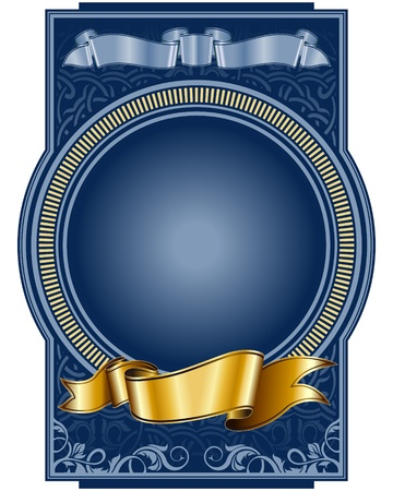 label with circle frame and gold ribbon  Vector