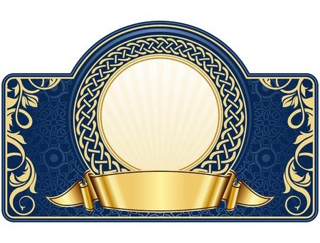 ruban or: l'�tiquette avec cadre cercle et un ruban d'or Illustration
