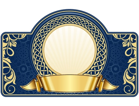 label with circle frame and gold ribbon
