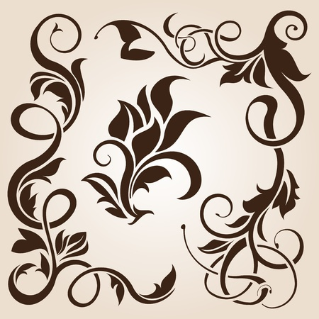 scroll shape: brown floral design element collection  Illustration