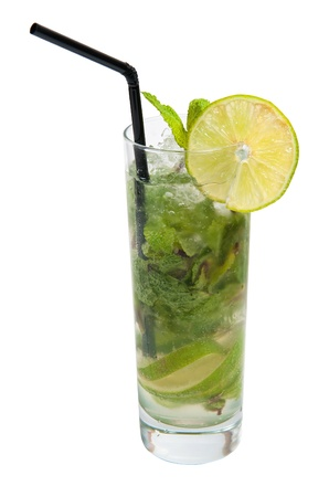 mojito in a glass isolated on white background photo