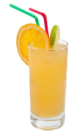 tall glass: fresh orange juice with ice isolated on white background