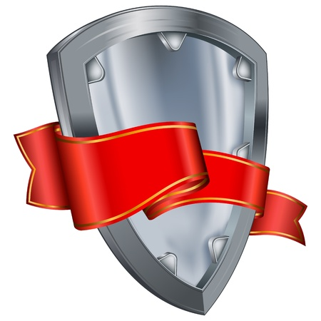 metal shield: Steel shield with red ribbon  Illustration