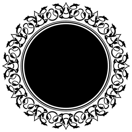 arabesque: black circle frame with floral border