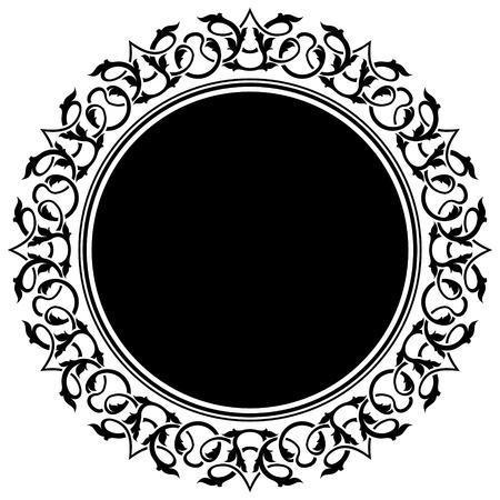 arabesque: cerchio telaio nero con bordo floreale