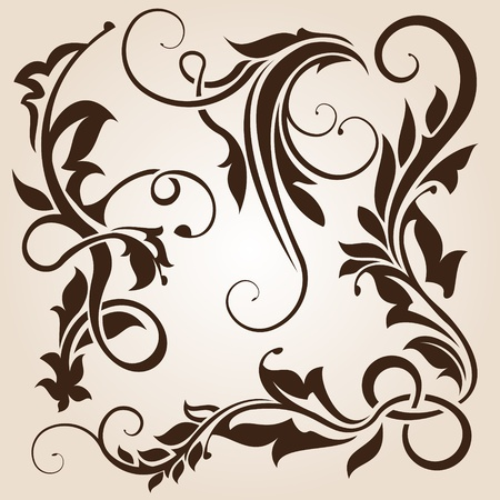 brown floral design element collection  Illustration
