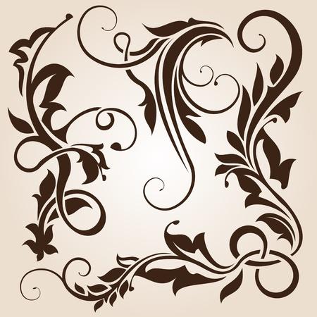 brown floral design element collection  Illustration