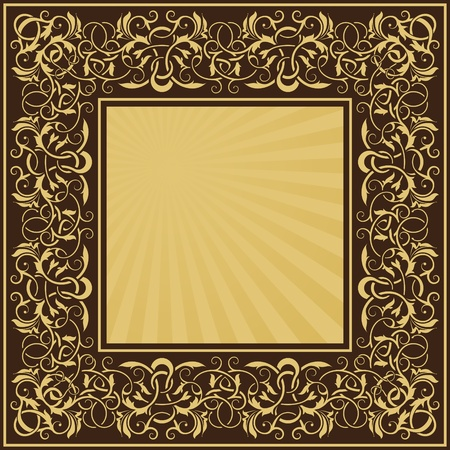 rectangle gold frame with floral ornamental border