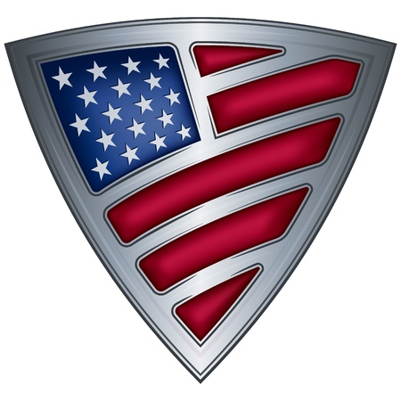 badge shield: steel shield with flag usa