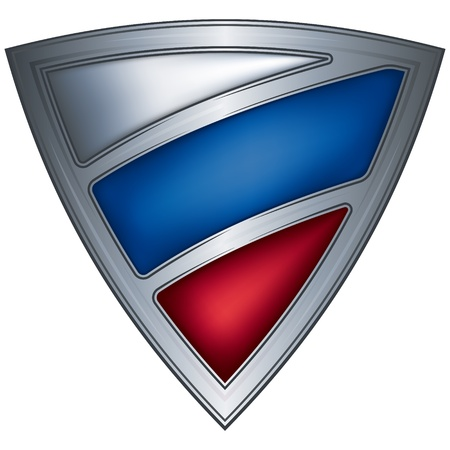 russia flag: triangle steel shield with flag russia
