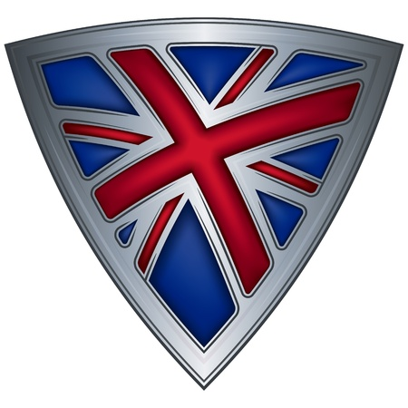 union jack: steel shield with flag uk