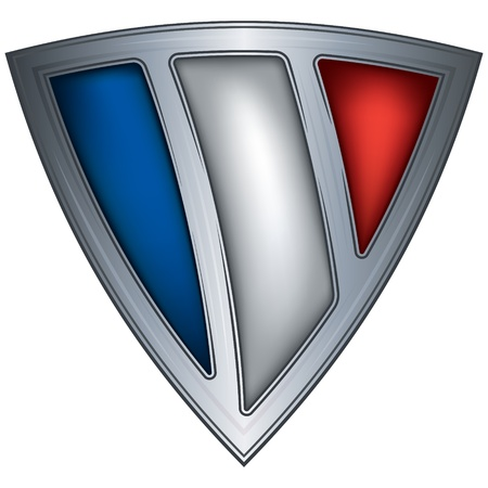 badge shield: steel shield with flag france  Illustration