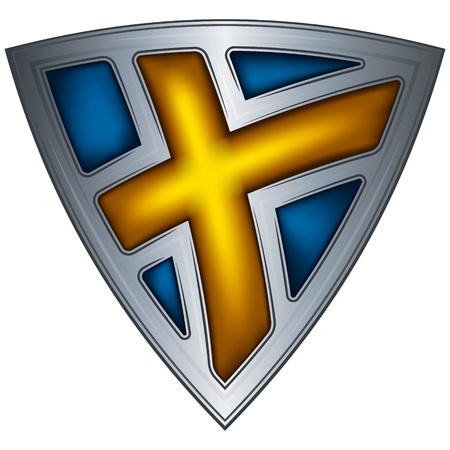 badge shield: steel shield with flag sweden