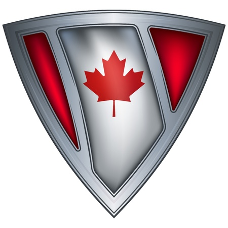 canada country: steel shield with flag canada  Illustration