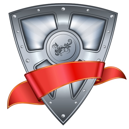 shiny shield: steel shield with red ribbon
