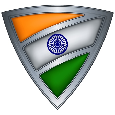triangle flag: steel shield with flag india  Illustration