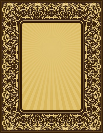 rectangle gold frame with floral ornamental border Stock Vector - 10689778