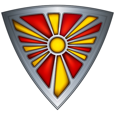 macedonia: steel shield with flag republic of macedonia