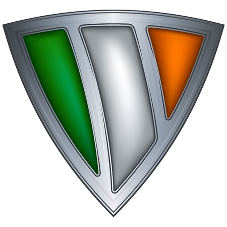 ireland flag: steel shield with flag ireland Illustration