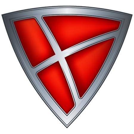 steel shield with flag denmark Stock Vector - 10689775