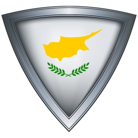 cyprus: steel shield with flag cyprus