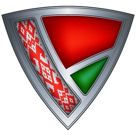 belarus: steel shield with flag belarus
