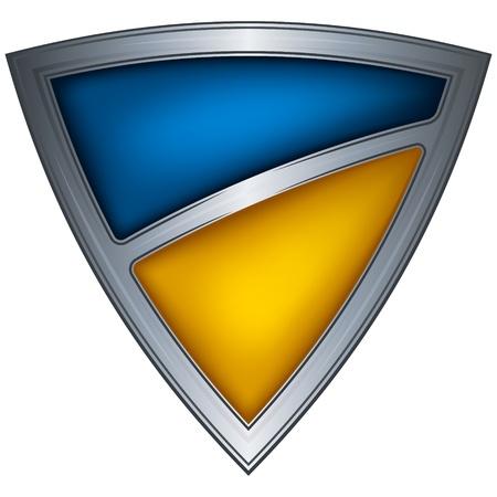 escudo militar: acero escudo con la bandera de Ucrania Vectores
