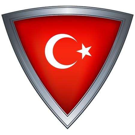 triangle flag: steel shield with flag republic of turkey  Illustration